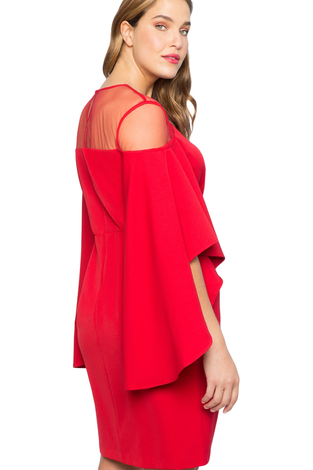 Red-Mesh-Illusion-Cold-Shoulder-Plus-Size-Dress-LC220395-3-3