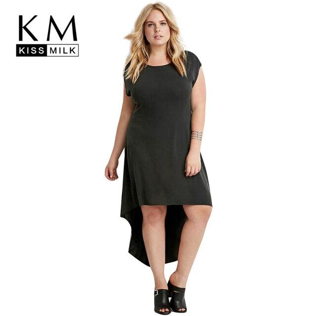 ae3f358c767 Kissmilk Plus Size New Fashion Women Clothing Solid Streetwear Dress Short  Sleeve O-Neck Big Size Dress 3XL 4XL 5XL 6XL