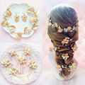 Gold Rhinestone Wedding Headband For Bride Bridal Hair Pins Pearl Crystal Accessories Leaf Hairpin Jewelry a387