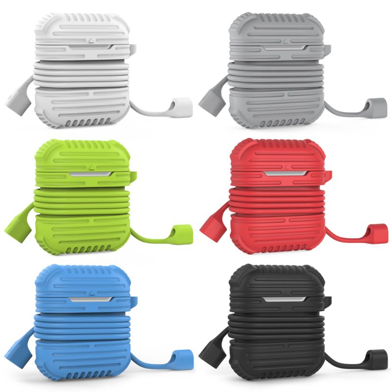 AirPods Case Protective Yometome Shockproof Silicone Protective Cover Accessories Skin with Earphone Sports Anti-lost Strap Rope