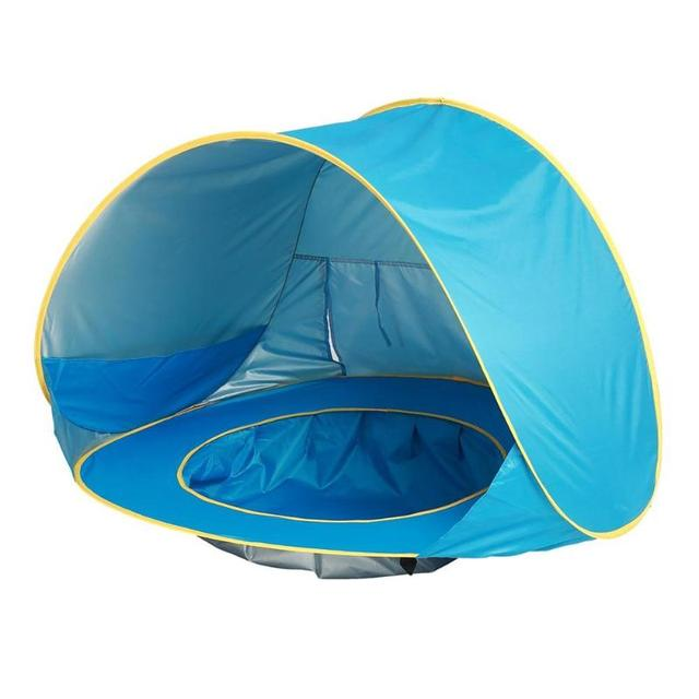 Baby beach tent uv-protecting sunshelter with a pool Baby Kids Beach Tent Pop Up Portable Shade Pool UV Protection Sun Shelter  2