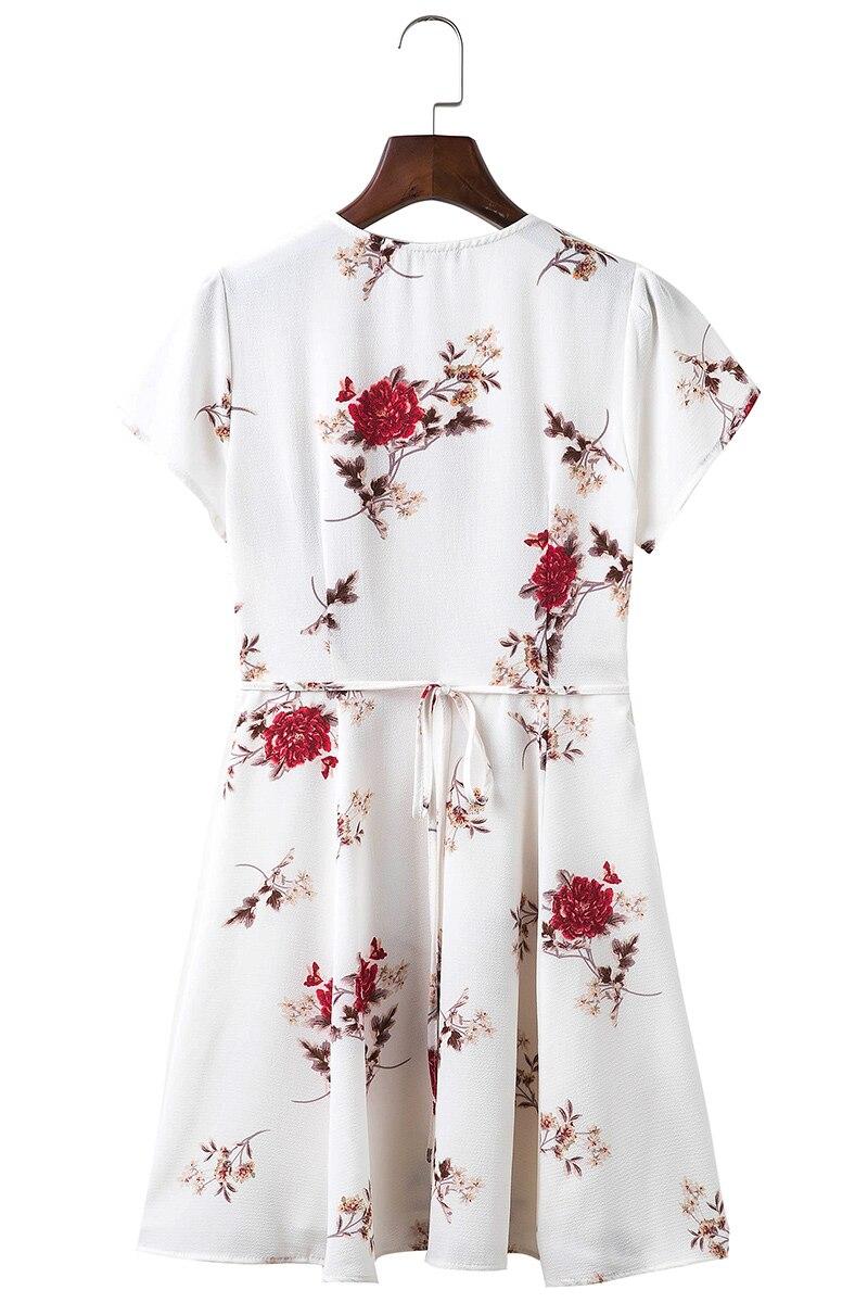 BONGOR LUSS Women Summer Dress 2017 V-Neck Cape Short Sleeve Casual Mini Dress Boho Beach Vinatge Floral Print Dress Sundress (1)