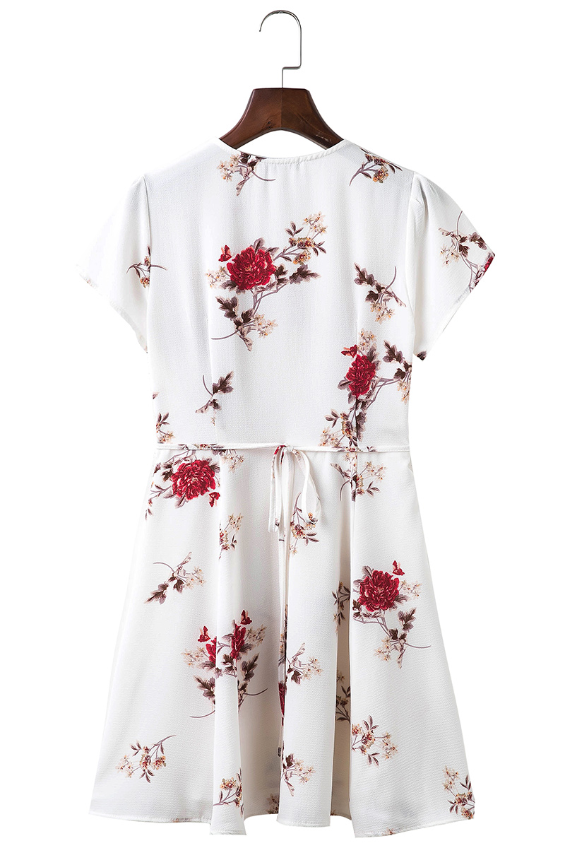 BONGOR LUSS Women Summer Dress 2017 V-Neck Cape Short Sleeve Casual Mini Dress Boho Beach Vinatge Floral Print Dress Sundress (1)