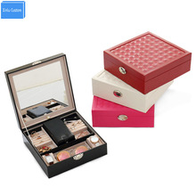 Gift for Women Colorful Leather Travel Case Cosmetic Container Mirror Dressing Case Watch/Jewelry Organizers Collect/Powder Box