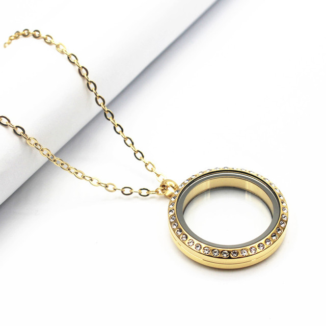 floating necklace item screw open gold crystal locket round steel stainless lockets with memory lot