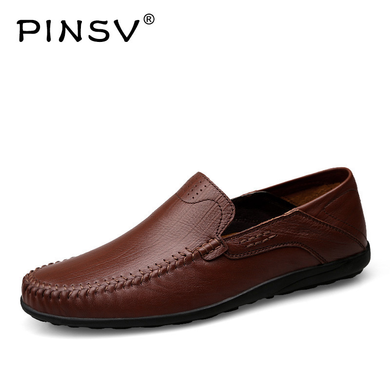 PINSV Outdoor Shoes Men Flats Casual Flats Leather Genuine slip-on Male Genuine Leather Shoes Mens Shoes Large Sizes 36-45 shiny slim black gold red flats shoes mens casual shoes genuine leather mens outdoor shoes ankle boots