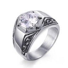 Мужское Винтажное кольцо качество AAA+ Кубический Цирконий кольцо для мужчин нержавеющая сталь обручальное Обручальное Ретро Ювелирное кольцо