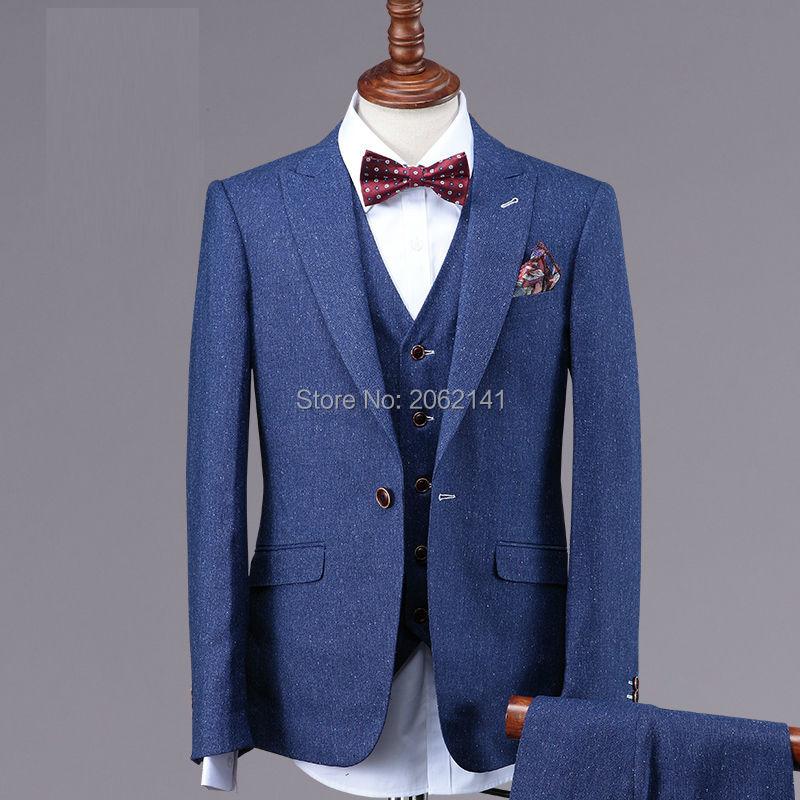 2016 Hot Sale Cowboy Wedding Suit Light Blue Slim Fit Mens 3 Piece ...