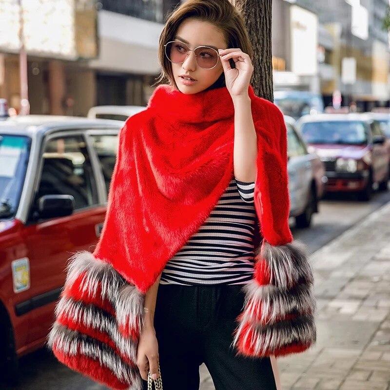 Vison Personnalisé Sans Courte Manteau Manches Femmes 025 Red Couture Renard Arlenesain De Rouge Fourrure TH6WYTRq