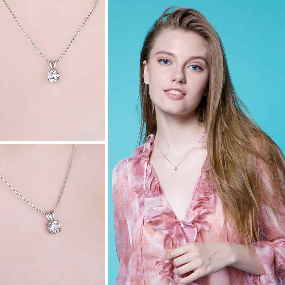 Round 1ct CZ Solitaire Pendant Necklace 925 Sterling Silver Choker Statement Necklace Women Silver 925 Jewelry Without Chain