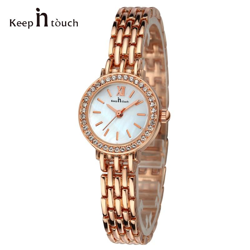 Manténgase en contacto rosa de oro rhinestone relojes mujeres concha - Relojes para mujeres