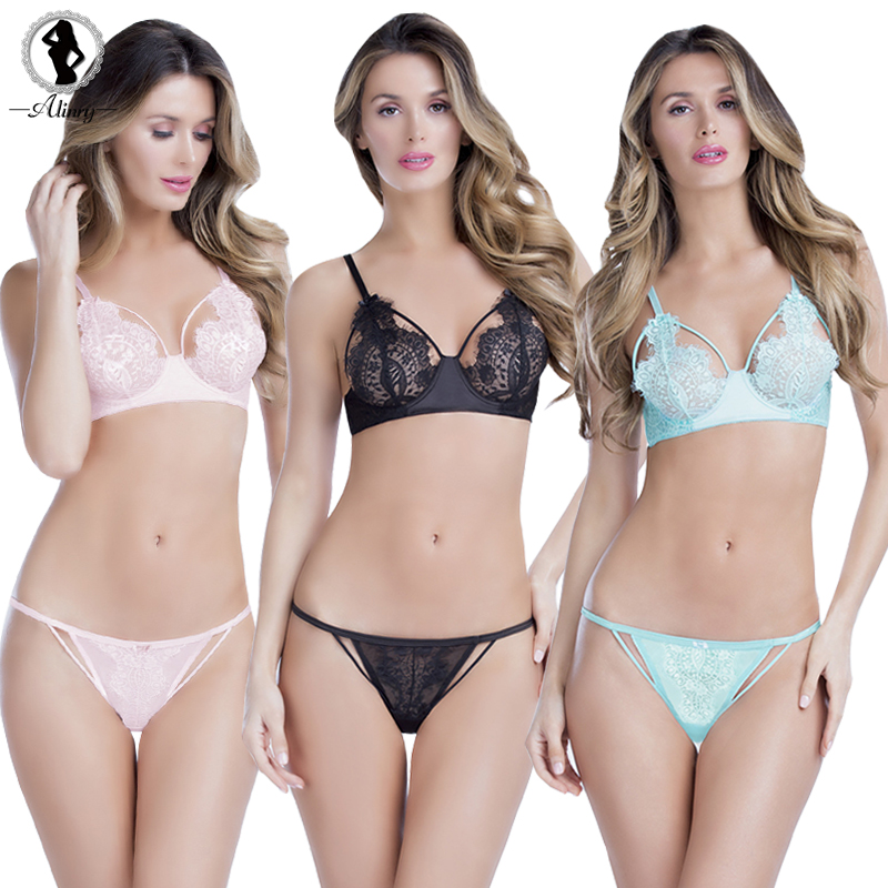 Buy ALINRY lace sexy bra & panty set hot women solid floral push transparent lingerie bralette ultra-thin breathable underwear