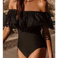 2017 Summer Ruffle One Piece Swimsuit Womens Off Shoulder Swim One Piece Biquini Black Monokini Bodysuit