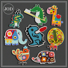 Embroidered Iron on Patches for Clothing Dinosaur Giraffe Lion Crocodile Kids Stickers Boy Patch Appliques Badges Suppliers