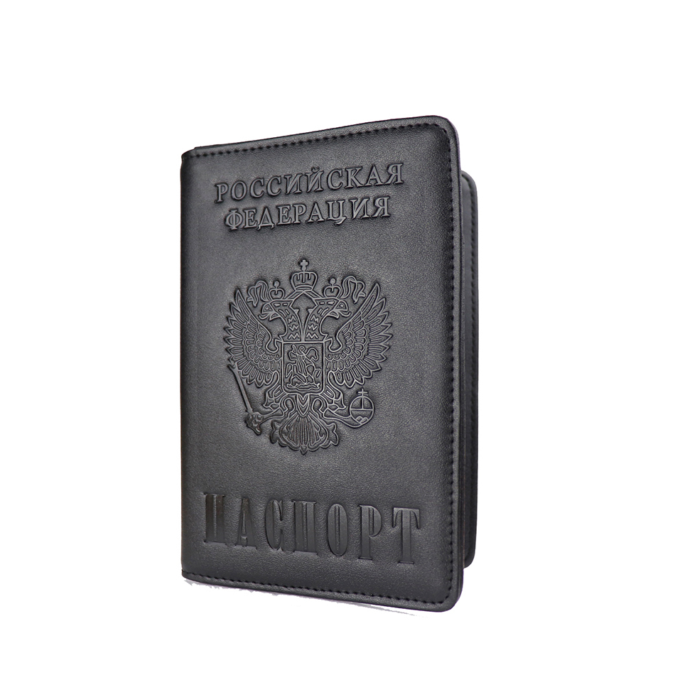 Russia And USA Luxury Solid Passport Cover For Men Women Travel Passport Case A609 Travel Document Cover RFID Passport Holders