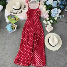 2019 Women Summer Dot Cross Backless High Waist Sashes Loose Chiffon Jumpsuits Casual Lady Jumpsuit 2019 new summer rompers(China)