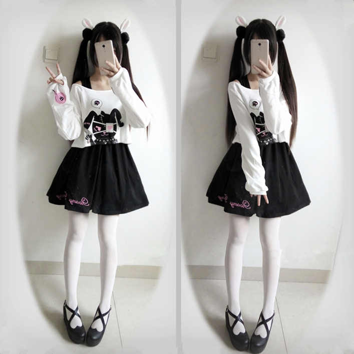 Cute Dress for Teens Girl Two Piece Set Bunny Prints Casual Cotton Dresses for Spring Autumn