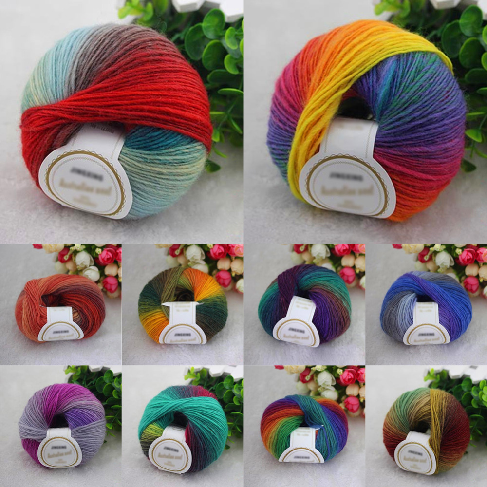 1ball X50g Knitted Chunky Hand Woven Woolen Rainbow Wool