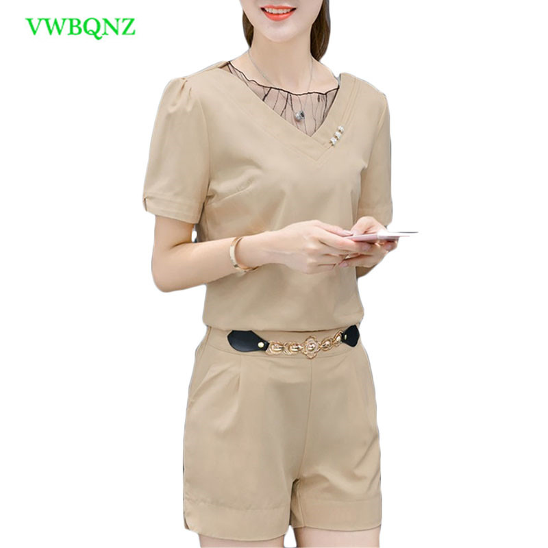 Women Summer Casual Chiffon V-neck Short sleeve Tops + shorts two piece set Female Office Suit Set Womens Costumes Tide A645