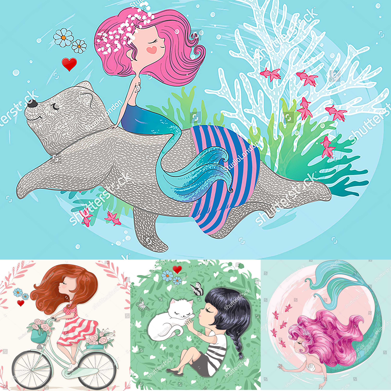 Girl Doll Mermaid Elephant Cuting Dies Scrapbooking Album Papercraft Handmade Card Stencil Cutter Pig Rabbit Cat Animal Dies