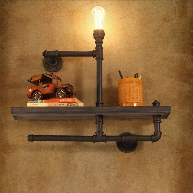 book shelf lighting. Vintage Industrial Style E27 Edison Bulb Wall Lamp With Bookshelf Iron Pipe Shelf Light Restaurant Bar Book Lighting G