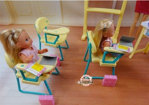 Image 5 - New fashion Classroom chairs + blackboard Gift Set doll accessories doll house furniture set for barbie doll baby girls DIY toys