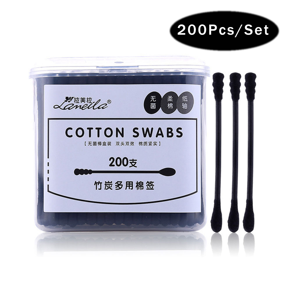 200pcs/set Bamboo Charcoal Black Cotton Degreasing Swabs, Double Tipped Multipurpose Cotton Swabs Cotton Buds 100% Cotton