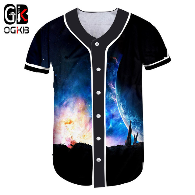 2e6ef7a3f6 OGKB Dropshipping Button T-shirt Women s Hiphop T Shirt Girl Cool Print  Blue Galaxy Space 3d Baseball Shirt Unisex Clothes