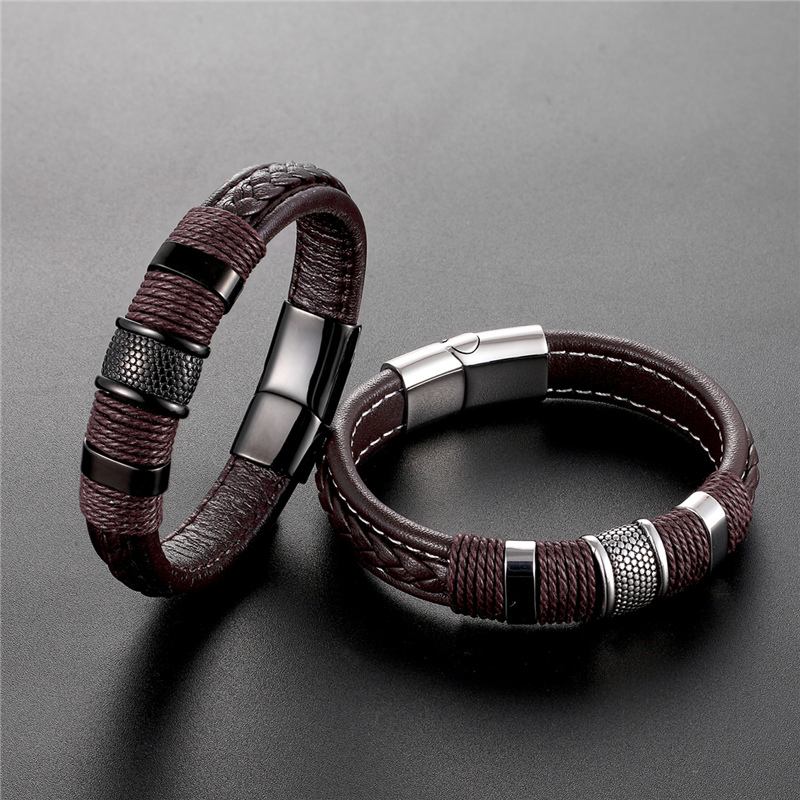2019 New Jewelry Punk 12 Color Stainless Steel Accessories Weave Genuine Leather Women Bracelet Men Bangles Hombre Pulseras