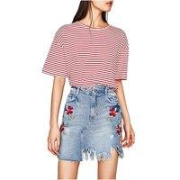 NYMPH High Waist Mini Denim Skirts Womens 2017 Autumn Summer Ladies Casual Embroidery Pencil Jeans Skirt