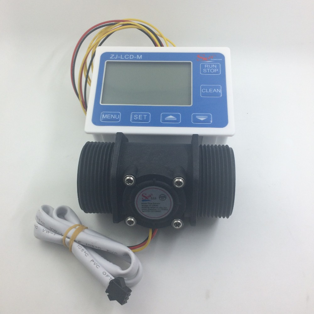 New 1.5 Water Flow Sensor Meter Counter Indicator + Digital LCD Display controller 5-150L/min us208mt flow totalizer usn hs10pa 0 5 10l min 10mm od flow meter and alarmer totalizer frequency counter hall water flow sensor
