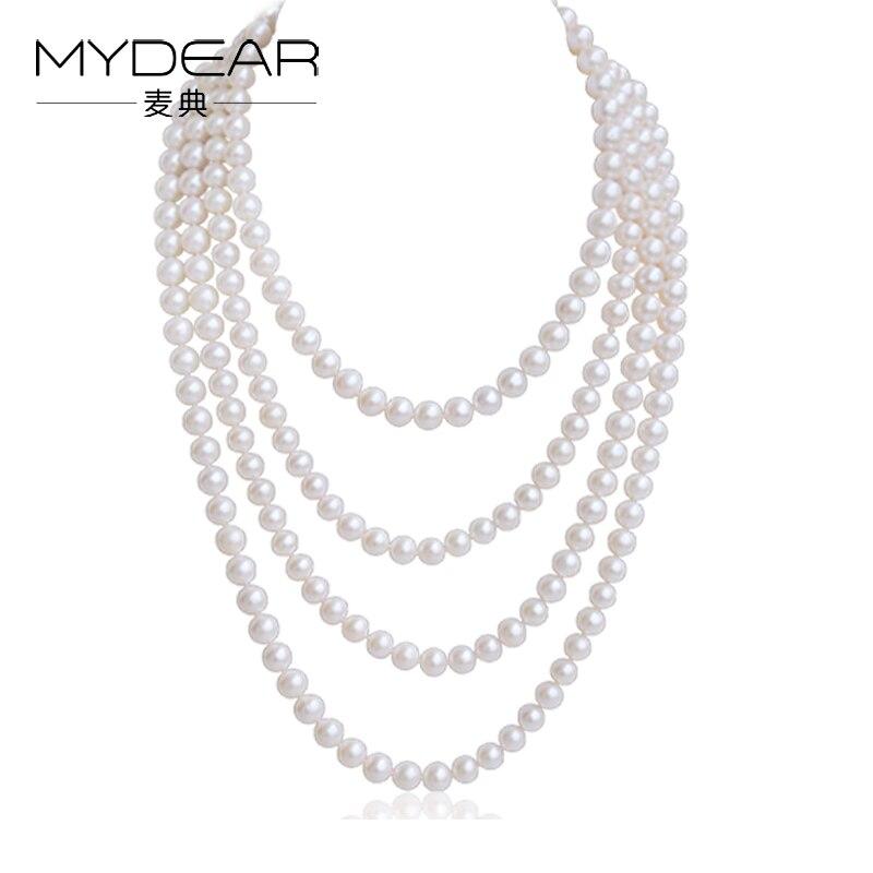 MYDEAR Pearl Jewelry Popular Natural 8 9mm font b Sweater b font Pearl Chain Long Pearls