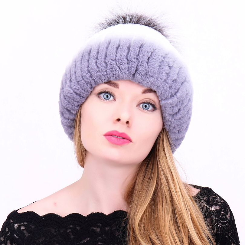 New Arrival Winter Hats For Women Casual Patchwork Rabbit&Fox Fur Pompom Ear Protect Hat Female Thick Warm Beanies Cap mz007