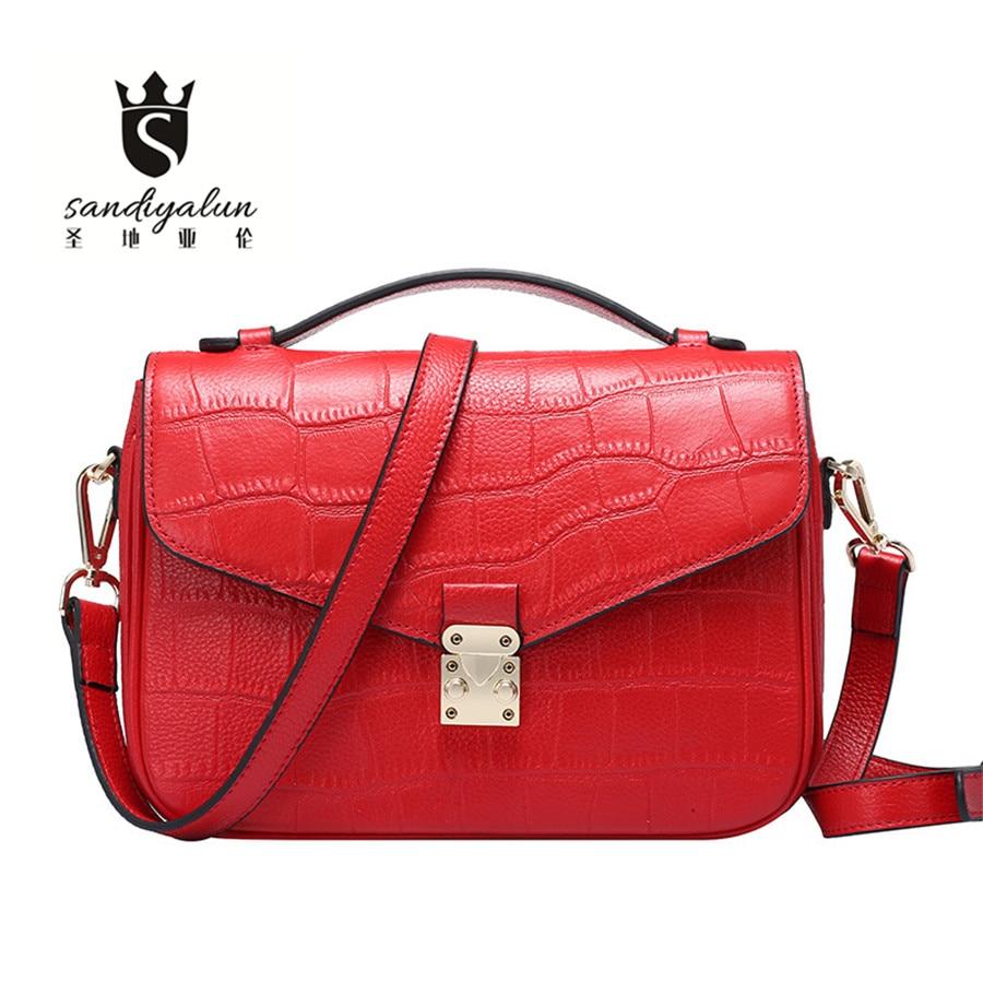 ФОТО 2017 New Arrival Women Messenger Bags Genuine Leather Ladies Lock Shoulder Bag Fashion Simple Women Crossbody Bags