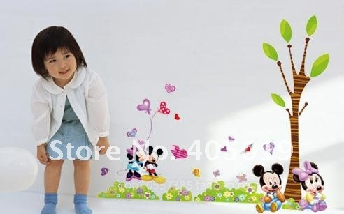 33x60cm YSZ079 Mickey Minnie Mouse Tree Sticker Nursery Daycare Wall Decal Cartoon Kid Room Paper Wallart Mixable Free Drop Ship
