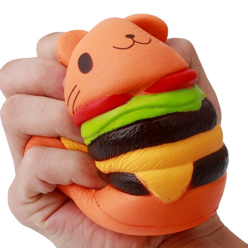 Soft Hamburger Squishy Anti-Stress Press Toy Cute Slow Rising Squash Food Cat Burger Squishy Squeeze Hamburger Anti Stress Food