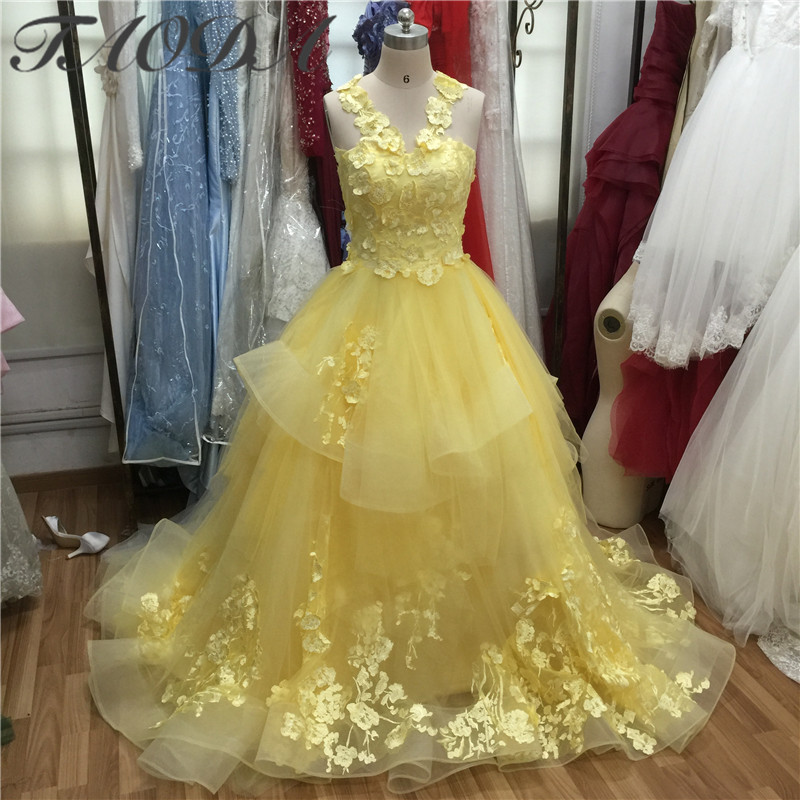 Amazing Yellow Wedding Dresses 2016 Liques Lace Ball Gown Bridal Dress High Qaulity Tulle Off The Shoulder Real Picture In From Weddings