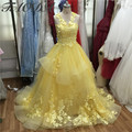 Amazing Yellow Wedding Dresses 2016 Appliques Lace Ball Gown Bridal Dress High Qaulity Tulle Off The Shoulder Real Picture