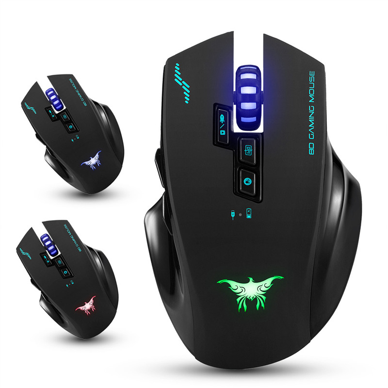 Rechargeable 2.4G Wireless Wired Gaming Mouse Optical Mice with 4 Adjustable DPI Levels 8 Buttons 3 Colors Breathing Lights