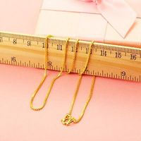 New Arrival Pure 999 24K Yellow Gold Chain Women Box Link Necklace 5.5 6g