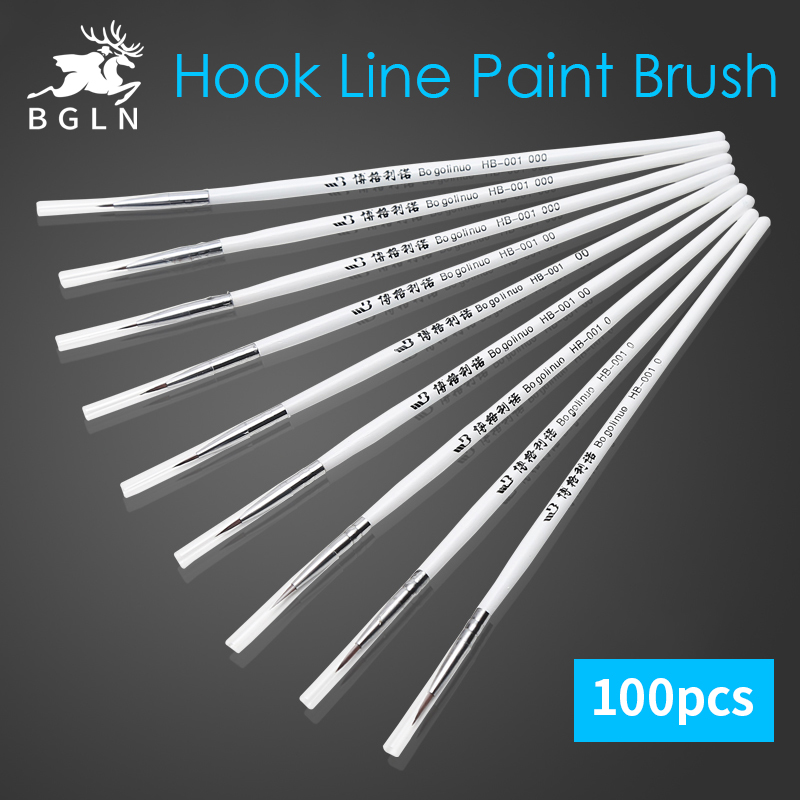 BGLN 100Pcs Round Tip Fine Hand-painted Hook Line Paint Brush Drawing Art Pen #0 #00 #000 Paint Brush Art Supplies bgln 6pcs different shape large capacity barrel water paint brush soft calligraphy painting drawing pen art supplies