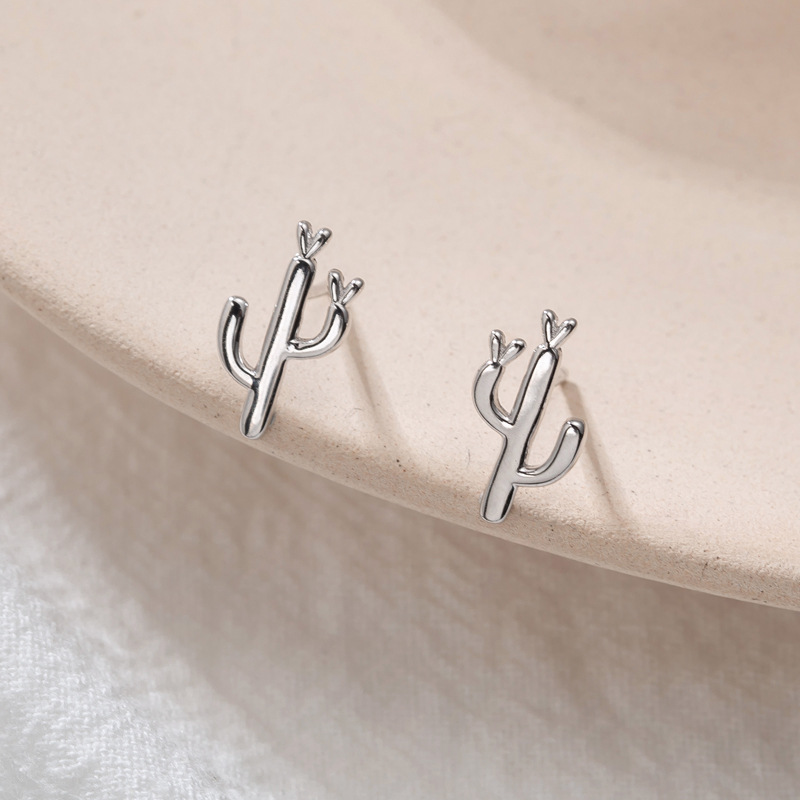 Billede af Fengxiaoling New Fashion 925 Sterling Silver Cute Cactus Stud Earrings For Women Simple Small Earings Fashion Jewelry