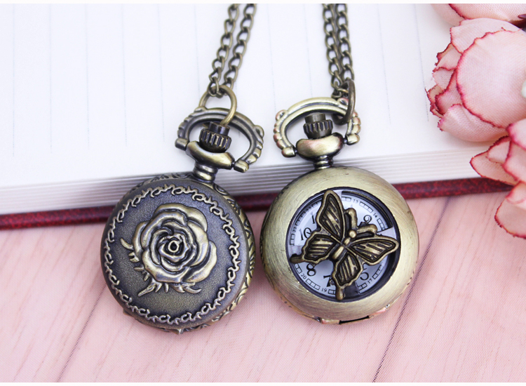 2017 Vintage Bronze Antique Rose Flower Quartz Pocket Watch Necklace Pendant Chian Women Men Birthday Gifts Relogio De Bolso new soviet sickle hammer style quartz pocket watch men women vintage bronze pendant necklace pendant clock with chain