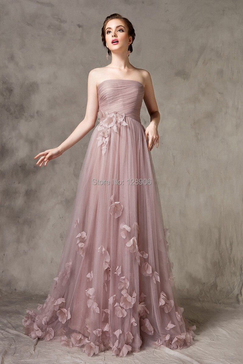 Elegant Tulle Prom Dress 2015 Strapless Ruched A Line