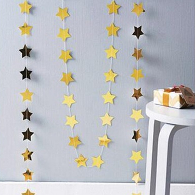 4 Meter Star-shaped Star Garland Photo Backdrop Prop, Birthday Party Starry Nights Paper Wedding Garland Party Decor