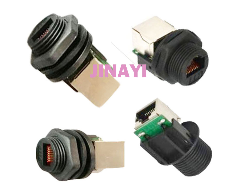 50pcs RJ45 Female Waterproof Panel Mount Socket IP68 Wire Connectors Panel Side M19 Connector Adapter