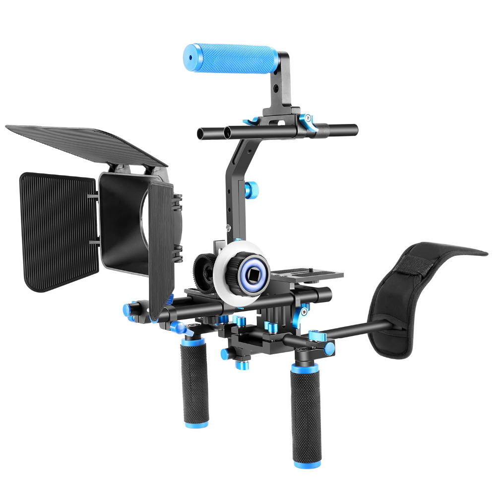 Neewer Professional DSLR Rig Set Movie Kit Film Making System for All DSLR Cameras+Video Camcorders Shoulder Mount+Follow Focus neewer aluminium alloy foldable rig movie kit film making system rig stabilizer for canon nikon d7100 d7200 camera and camcorder