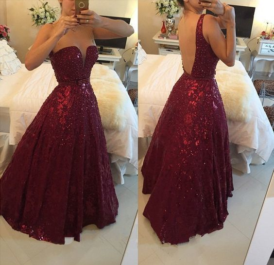 Party dress prom vestidos de borgoña 2017 elegante correas espaguetis rebordear