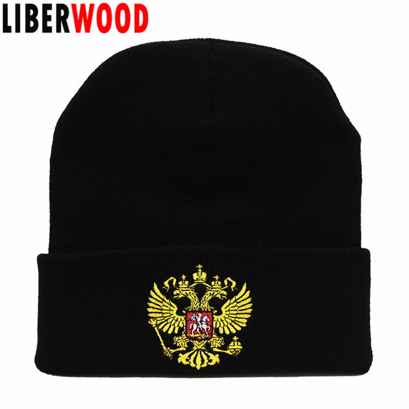 abe2df80a US $4.55 |LIBERWOOD Russian Military Hat KGB Soviet Imperial Eagle Winter  Beanie Men cap Hat Double Headed Eagle Embroidered Long Beanie-in Men's ...