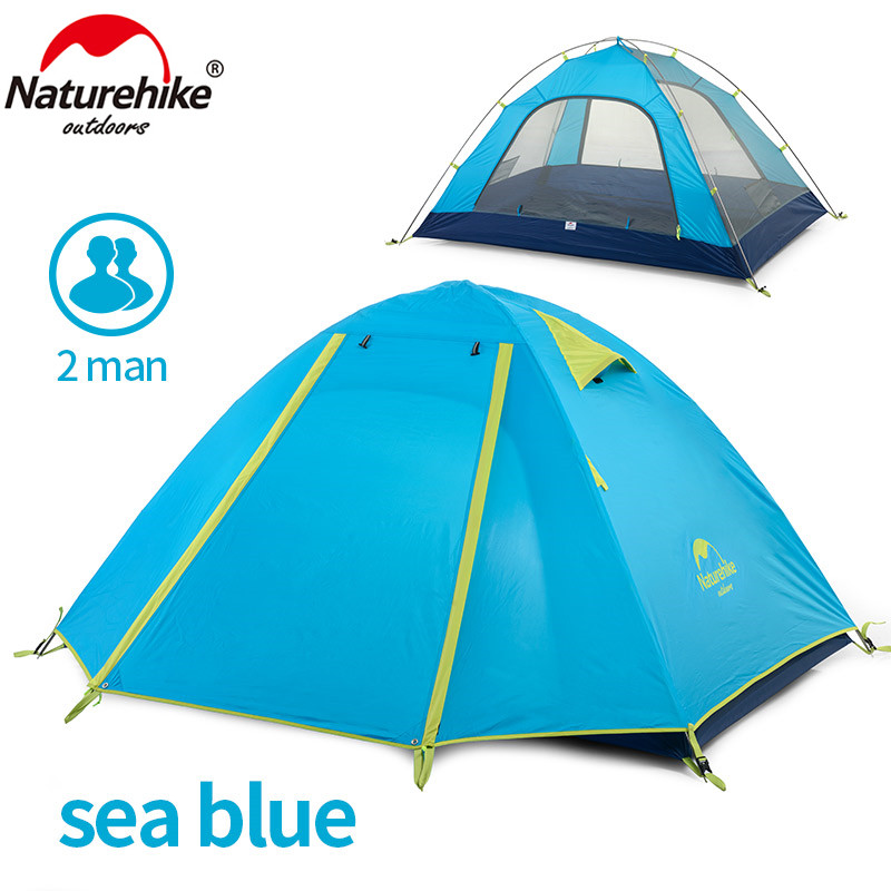 NatureHike P 210T 2 Person Alunimum Rod 2 Layer 3 Season HIking Travel Mountaineering Cycling Beach Fishing Outdoor Camping Tent double layer 2 person 4 season aluminum rod outdoor camping fishing hiking tent snow skirt barraca blue orange green ultra light